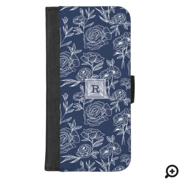 White & Navy Floral Botanical Pattern Monogram iPhone Wallet Case