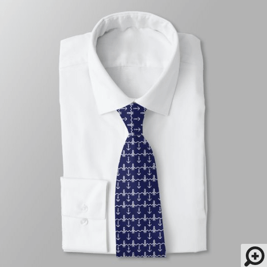 White & Navy Nautical Anchor Lighthouse Pattern Neck Tie