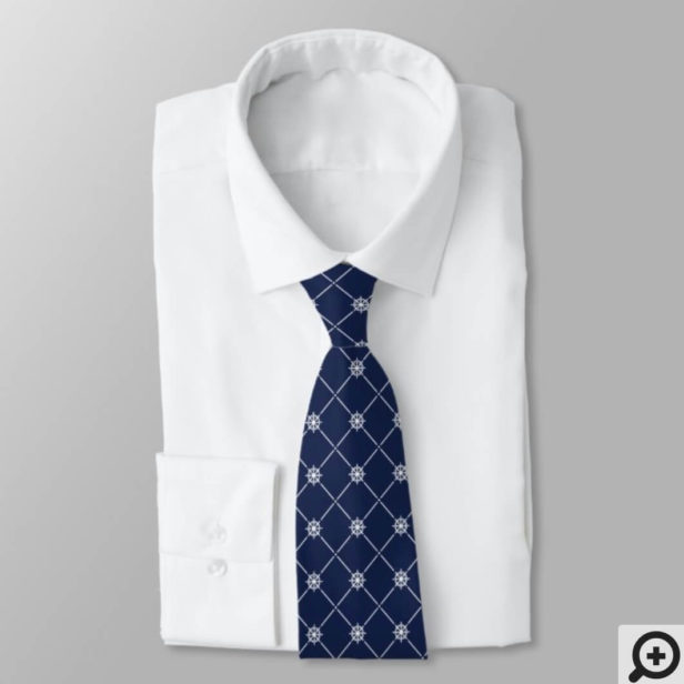 White & Navy Nautical Ship Wheel Diamond Pattern Neck Tie
