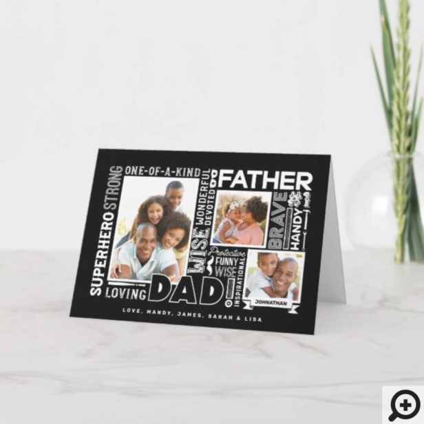 Words For #1 Dad Father's Day Photo Collage Black Card