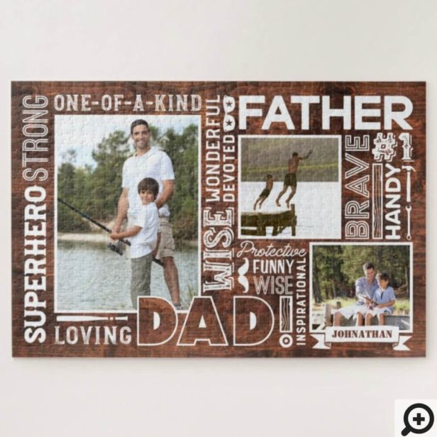 Words For #1 Dad Happy Father's Day Photo Collage Jigsaw Puzzle