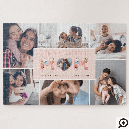World's Best Mom Photo Collage & Floral Pattern Jigsaw Puzzle