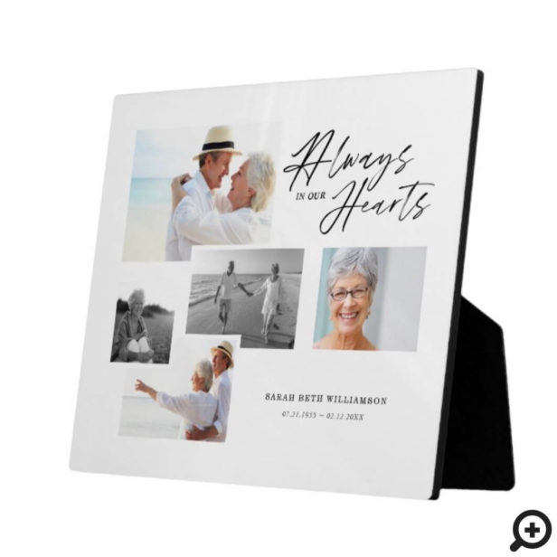 Always In Our Hearts Five Photo Collage Memorial Plaque