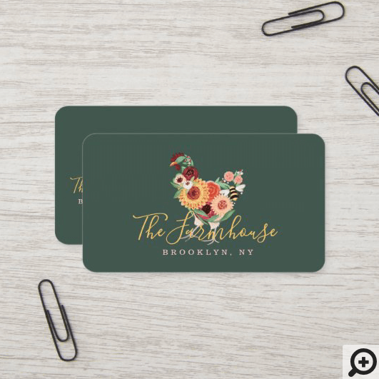 Artistic Wildflowers & Greenery Farm Roster Logo Business Card
