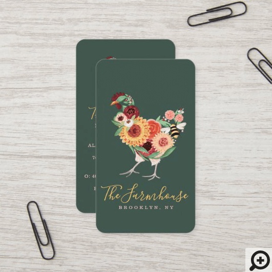 Artistic Wildflowers & Greenery Farm Roster Logo Vertical Business Card
