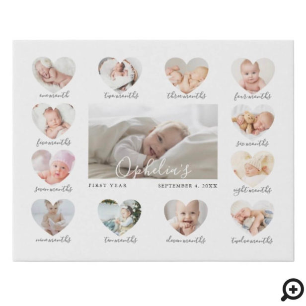 Baby's First Year Heart Photo Keepsake Collage Faux Canvas Print