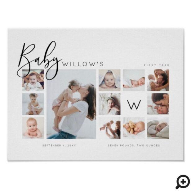 Baby's First Year Photo Keepsake Collage Monogram Poster