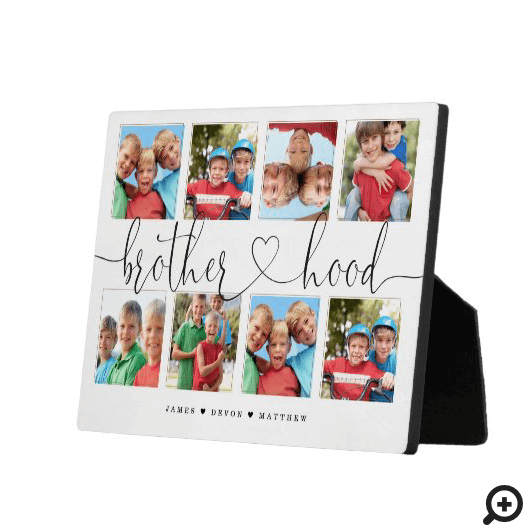 Brotherhood Script Gift For Brothers Photo Collage Plaque