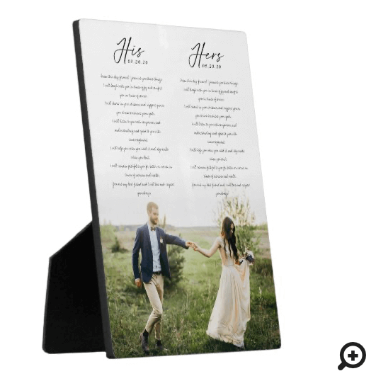 Elegant His & Hers Wedding Vows Minimal Photo Plaque