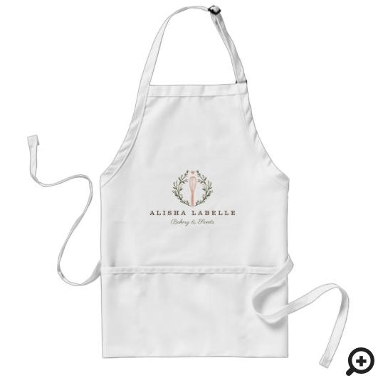 Elegant Rustic Style Bakery Whisk Logo Adult Apron
