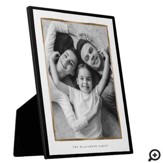 Family Memory, Elegant Black & Gold Frame Photo
