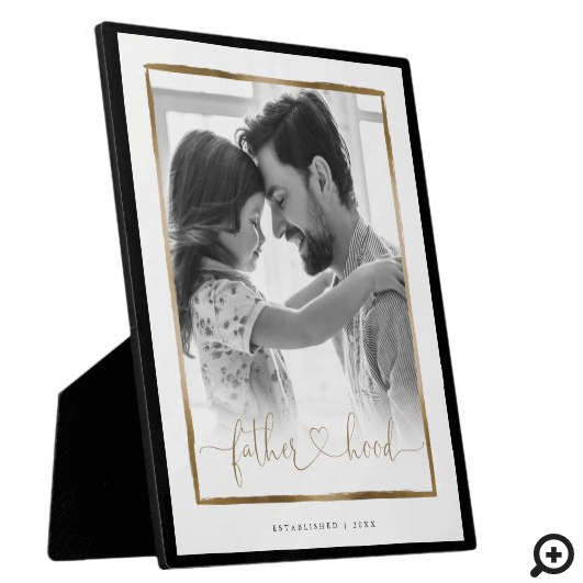 Fatherhood EST. Elegant Black & Gold Frame Photo