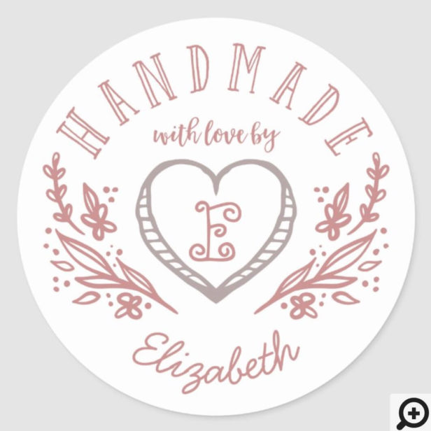 Hand-drawn Heart & Floral Wreath Custom Monogram Classic Round Sticker