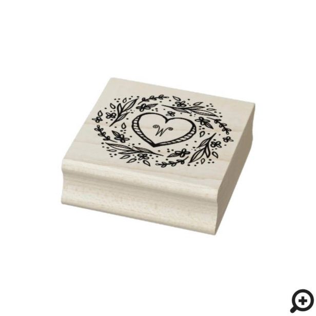 Hand-drawn Heart & Floral Wreath Custom Monogram Rubber Stamp