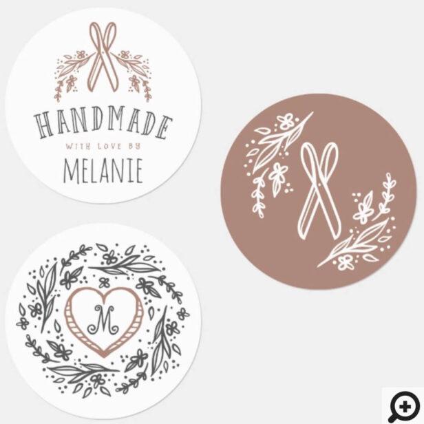 Handmade Florals, Heart, Scissors & Monogram Set Labels
