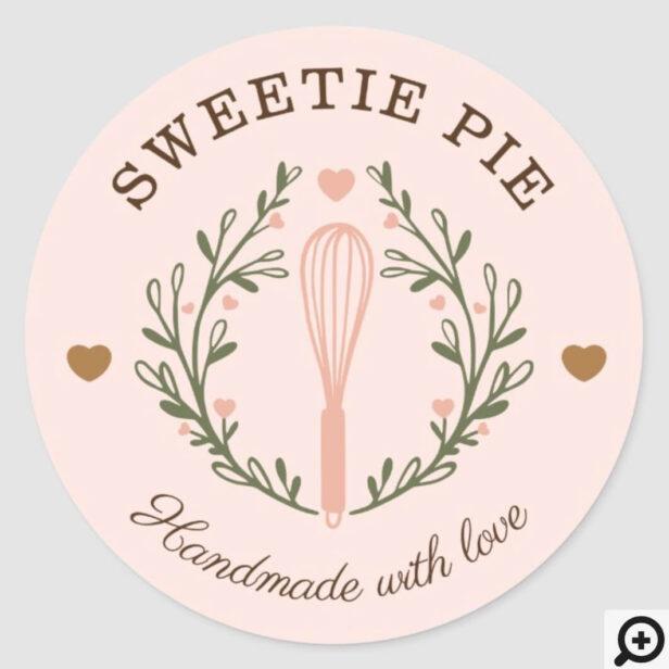 Handmade With Love Bakery Whisk Logo Classic Round Classic Round Sticker