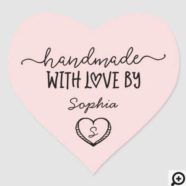 Handmade With Love Custom Monogram Heart Stickers