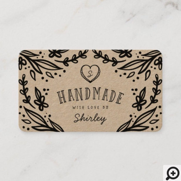 Handmade With Love Heart Monogram Floral Design Business Card