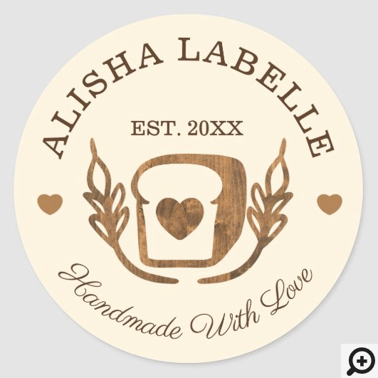 Handmade With Love Rustic Bakery Loaf Of Bread Classic Round Sticker
