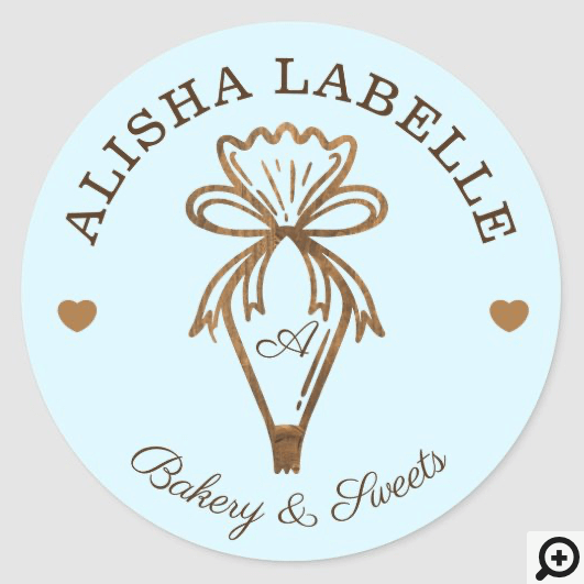 Handmade With Love Rustic Wood Bakery Piping Bag Classic Round Sticker