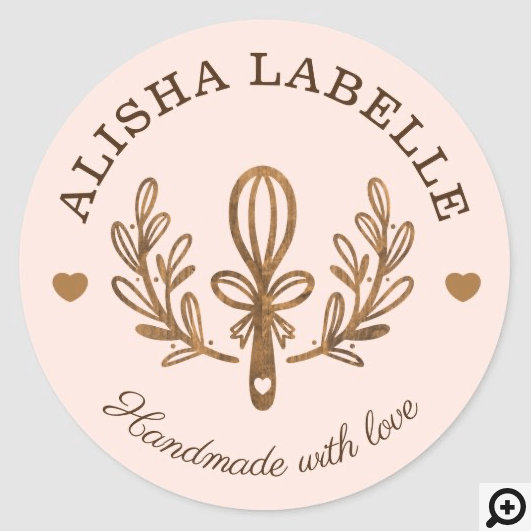 Handmade With Love Rustic Wood Bakery Whisk Logo Classic Round Sticker