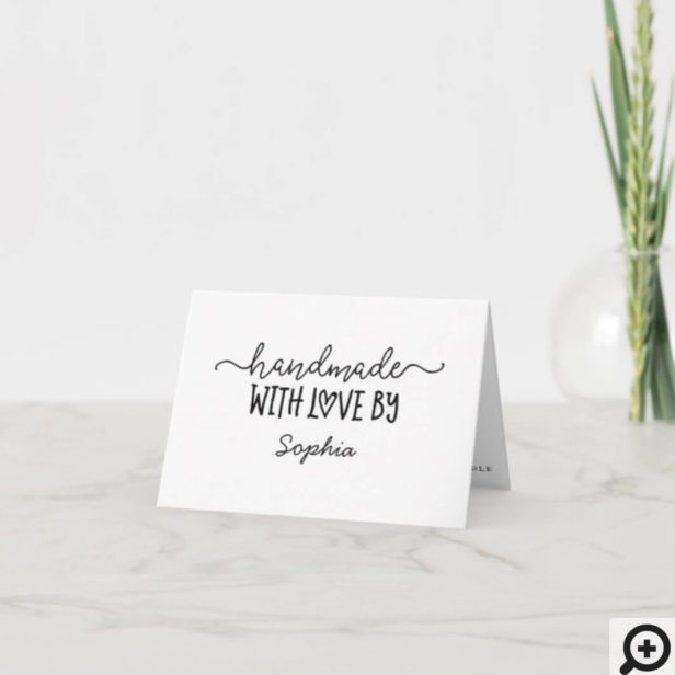 Handmade With Love Thank You For Your Purchase White Thank You Card