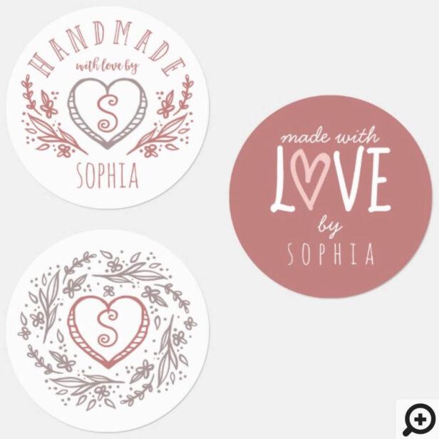 Handmade with Love Florals, Heart & Monogram Set Labels