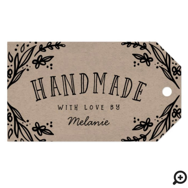 Handmade with Love Sketched Floral Design Custom Gift Tags