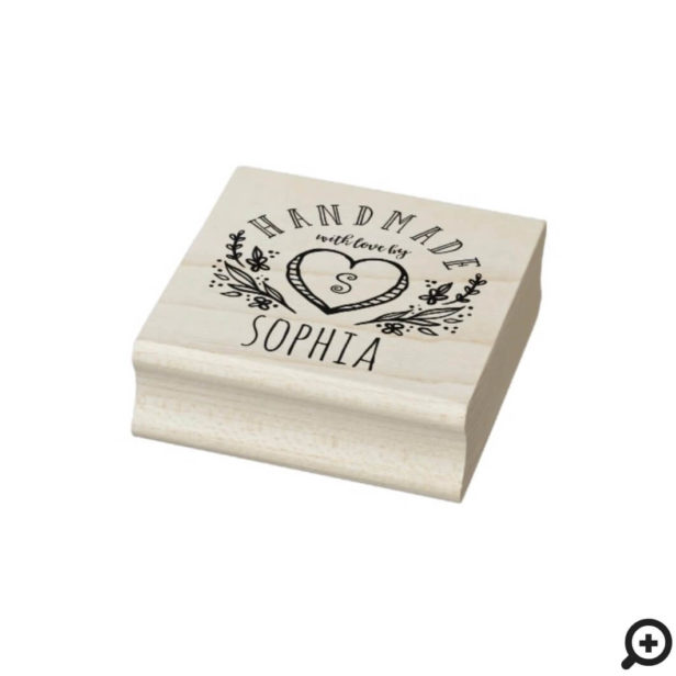 Handmade with Love Sketched Florals Heart Monogram Rubber Stamp