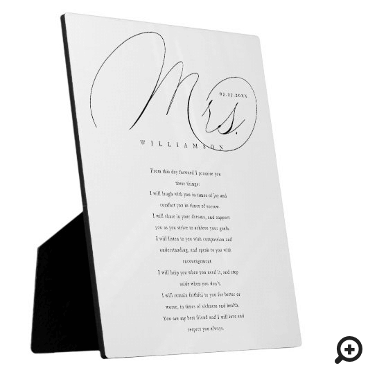 Her Vows Elegant Mrs. Newlyweds Wedding Vows White Plaque