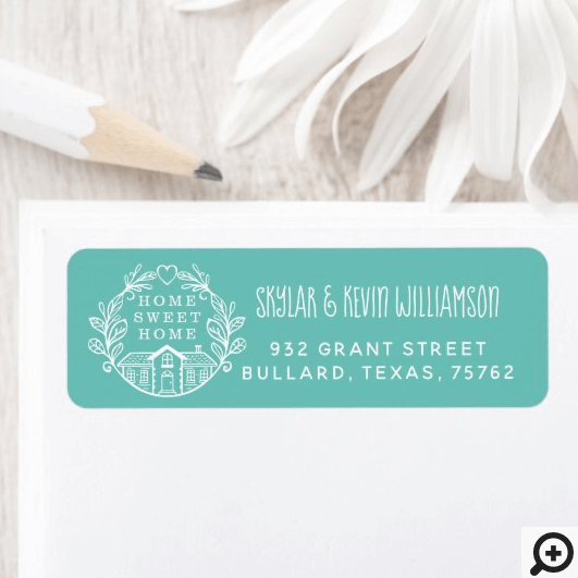 Home Sweet Home New Address Laurel Wreath Teal Label