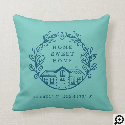 Home Sweet Home, Wreath Design & Coordinates Blue Throw Pillow