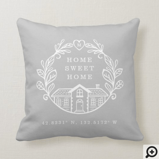 Home Sweet Home, Wreath Design & Coordinates Black Throw Pillow