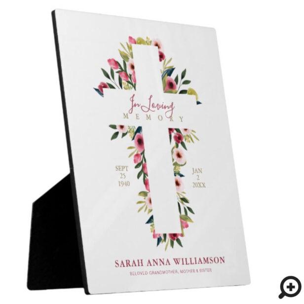 In Loving Memory Floral Watercolor Cross Memorial Plaque