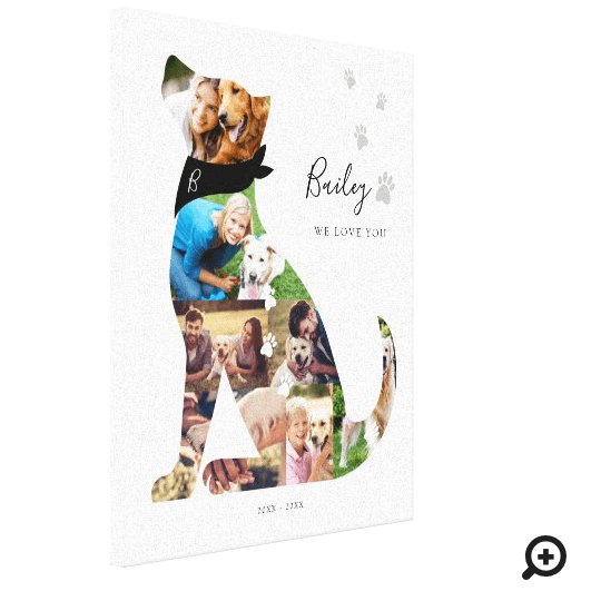 Loving Memory Dog Photo Collage Pet Memorial Canvas Print