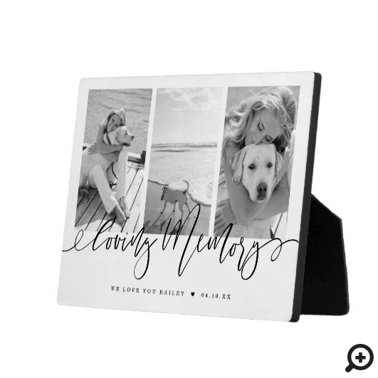 Loving Memory | Modern Pet Memorial Photo Collage Plaque