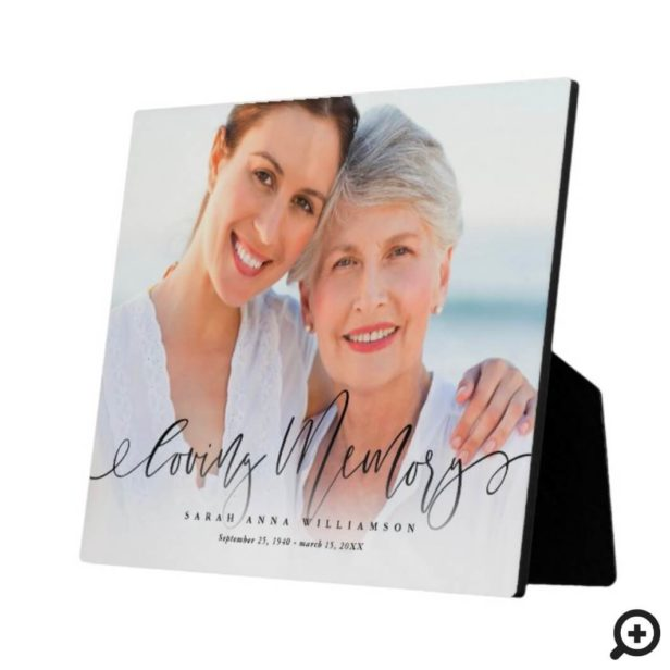 Loving Memory Script & Photo Memorial Keepsake Plaque