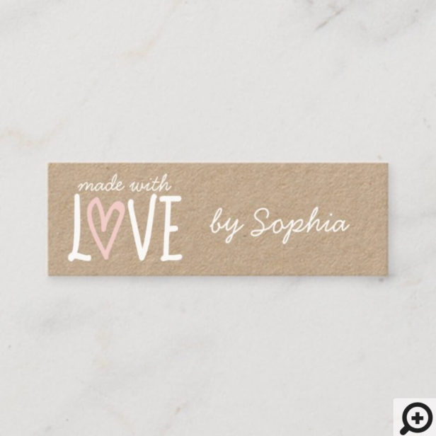 Made With Love Custom Name & Social Media Mini Business Card