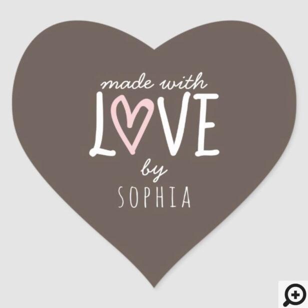 Made With Love Heart Shape Custom Heart Sticker