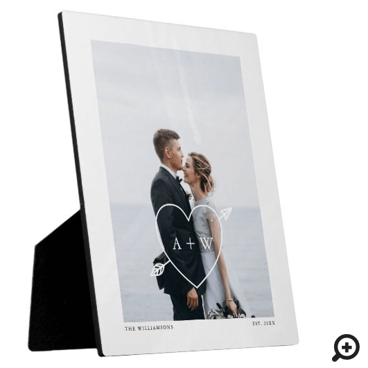Minimal Full Wedding Photo, Heat & Arrow Initials Plaque