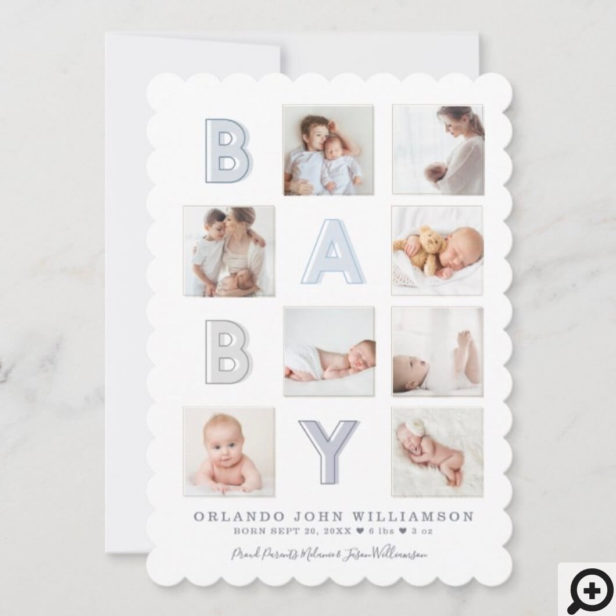 Modern Baby Block Letters Photo Grid Collage Boy Announcement