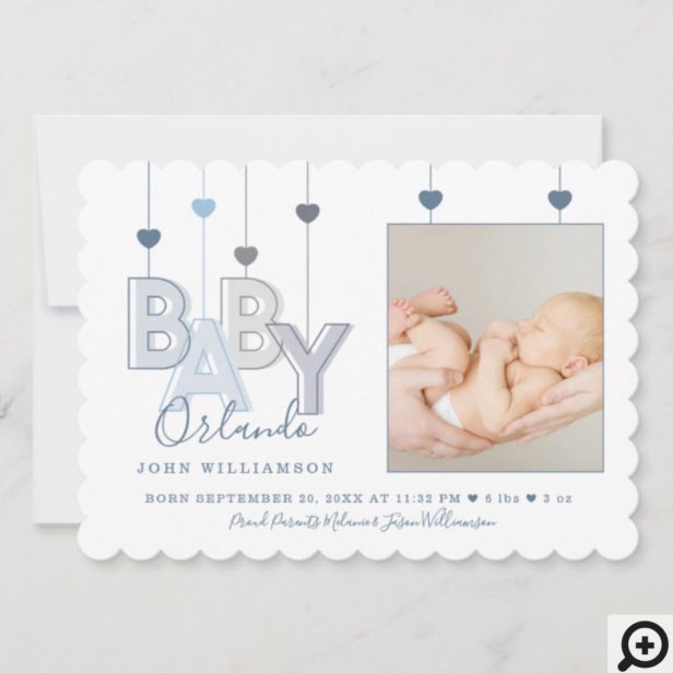 Modern Baby Letters Newborn Baby Boy Photo Announcement