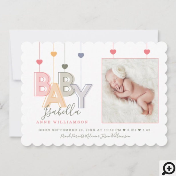 Modern Baby Letters Newborn Baby Girl Photo Announcement