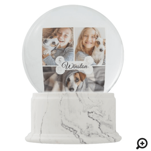 Modern Christmas Pet Dog Bone Three Photo Collage Snow Globe