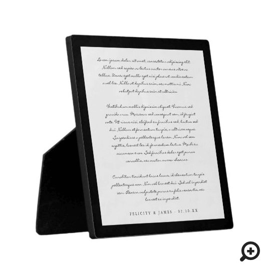 Modern Minimal & Elegant Black/White Wedding Vows Plaque