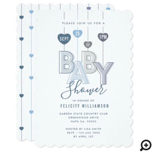 Modern String Blue Baby Letters Hearts Baby Shower Invitation