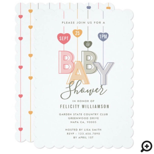 Modern String Pink Baby Letters Hearts Baby Shower Invitation