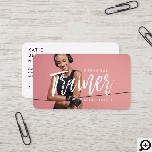 Modern Trendy Personal Fitness Trainer Photo Business Card