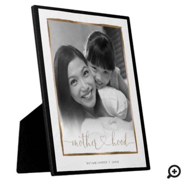 Motherhood EST. Elegant Black & Gold Frame Photo
