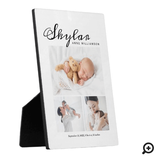 Newborn Baby Birth Stats, Modern Photo White Plaque